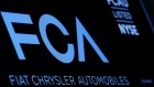 A screen displays the ticker information for Fiat Chrysler Automobiles NV at the post where it's traded on the floorof the NYSE