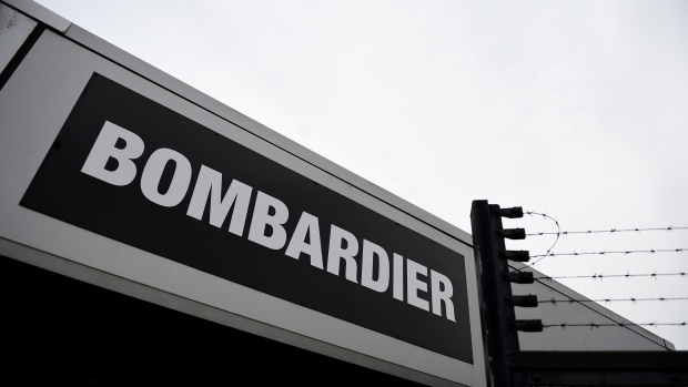 FILE PHOTO: A Bombardier logo is seen at the Bombardier plant in Belfast