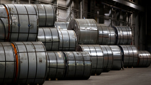 Coils of steel sit in storage in a port authority facility in Hamilton