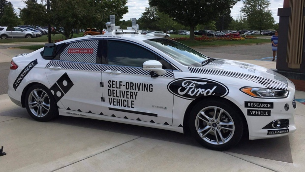 Ford Domino's Pizza self-driving delivery car