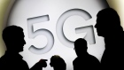 A 5G sign is seen at the Mobile World Congress in Barcelona