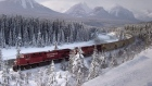A Canadian Pacific freight train travels around Morant's Curve near Baker Creek, Alta. on Monday Dec