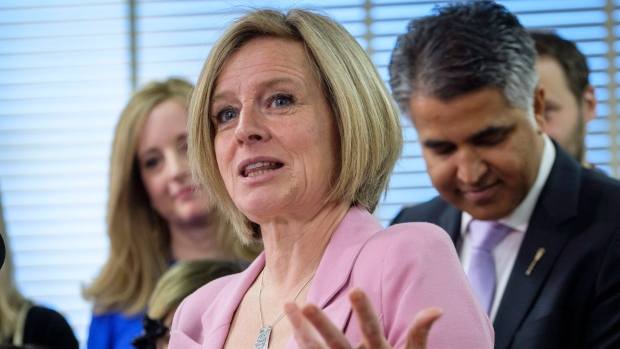 Premier Rachel Notley speaks at an event announcing new schools in Calgary, Alta.