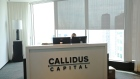 Sign shows the entrance to the offices of Callidus Capital in Toronto