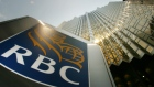 The Royal Bank of Canada logo hangs outside their headquarters in Toronto, Ontario, on June 11, 2003