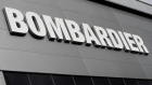 Bombardier's logo is seen on the building of the company's service centre at Biggin Hill