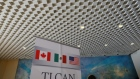 NAFTA banner is pictured inside a hotel where the seventh round of NAFTA talks involving the United States, Mexico and Canada takes place, in Mexico City