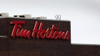 Tim Hortons Inc. signage is displayed at company headquarters in Oakville, Ontario, Canada.
