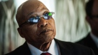 Jacob Zuma, South Africa's president, visits the headquarters of Eskom Holdings SOC Ltd. at Megawatt Park in Johannesburg, South Africa, on Friday, May 6, 2016. It appears to be just a matter of time before South Africa's credit rating is cut to junk. Photographer: Waldo Swiegers/Bloomberg *** Local Caption *** Jacob Zuma