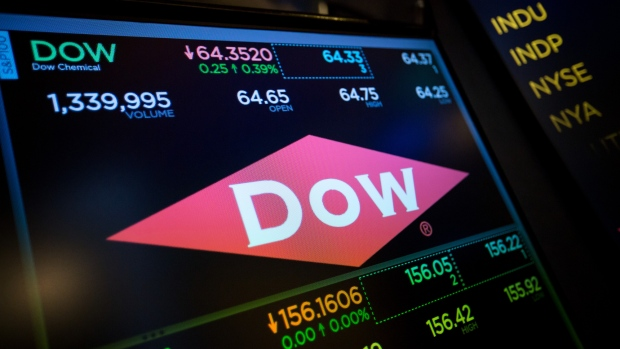 A monitor displays Dow Chemical Co. signage on the floor of the New York Stock Exchange (NYSE) in New York, U.S., on Friday, June 16, 2017. U.S. stocks fell for the fifth time in six days, while the dollar weakened with Treasury yields after poor housing data and a slump in consumer sentiment added to signs the American economy's growth rate may be slower than forecast. Oil rose with metals.