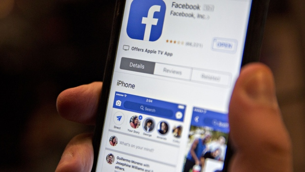 The Facebook Inc. application is seen in the App Store on an Apple Inc. iPhone in Washington, D.C., U.S.