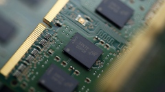 Micron Technology Inc. Double-Data-Rate Synchronous Random-Access Memory (SDRAM) chips are arranged for a photograph in Tokyo, Japan.