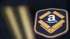 The Amazon.com logo is seen during the company's job fair in Kenosha, Wisconsin, Aug. 2, 2017