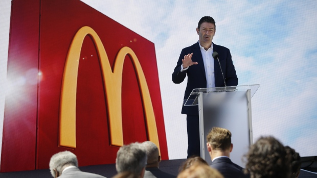 Steve Easterbrook, chief executive officer of McDonald's Corp., speaks during the opening of the company's new headquarters in Chicago, Illinois, U.S., on Monday, June 4, 2018. Easterbrook said that the headquarters move to Chicago will help draw talent to the company.