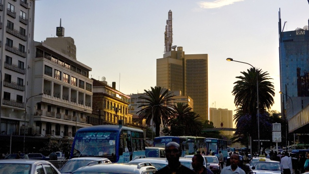 Traffic moves along Kenyatta Avenue in Nairobi, Kenya.