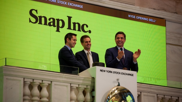 Evan Spiegel, co-founder and chief executive officer of Snap Inc., stands on the floor of the New York Stock Exchange (NYSE) during the company's initial public offering (IPO) in New York, U.S., on Thursday, March 2, 2017. Snap Inc., maker of the disappearing photo app that relies upon the fickle favor of millennials, jumped in its trading debut after pricing its initial public offering above the marketed range.