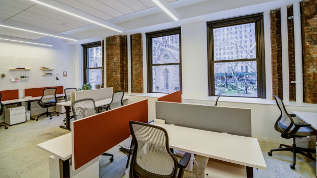 Shared work space at Convene's flagship property near Wall Street in downtown Manhattan