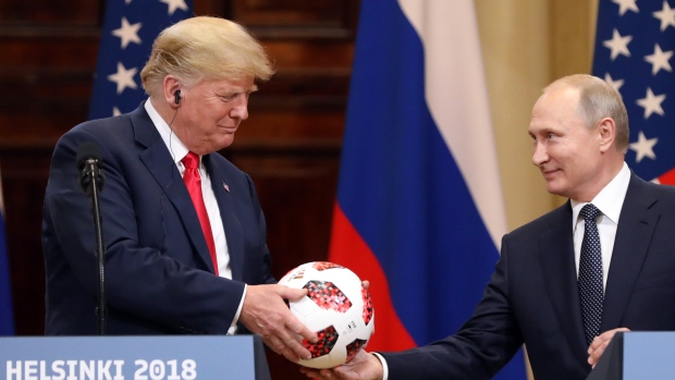 Putin's soccer ball for Trump had transmitter chip, logo indicates