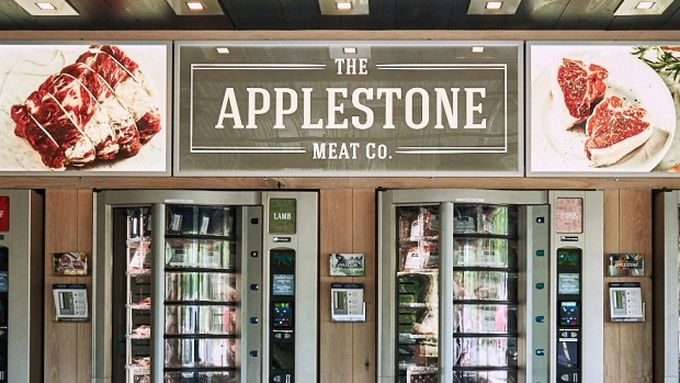 Meat is sold from vending machines from the Applestone Meat Co.
