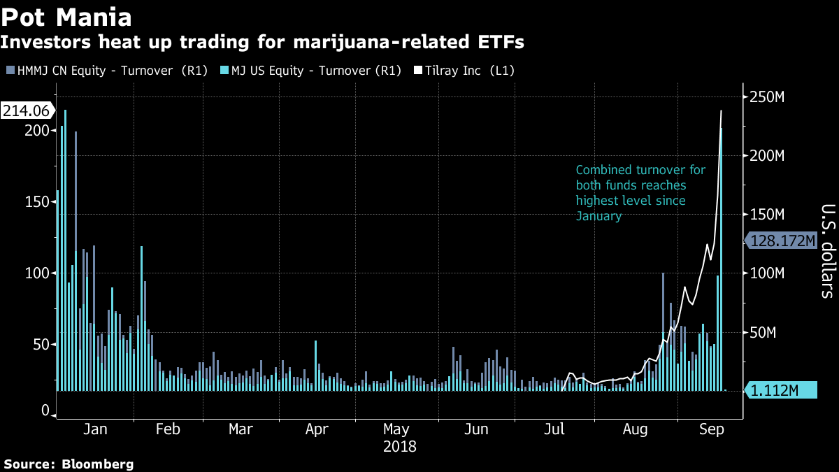 68245948a6d8 Horizons marijuana ETF adds Tilray after missing out on wild ride ...