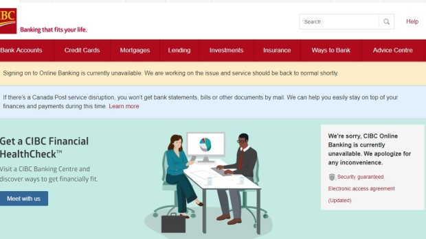 cibc suffers online banking outage as customers tweet complaints