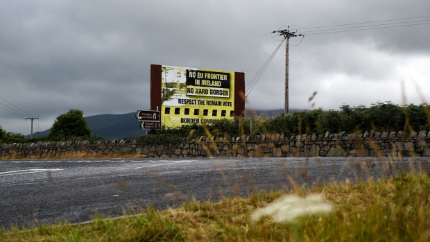An anti-border poster in Killeen, Northern Ireland. Photographer: Mary Turner/Bloomberg