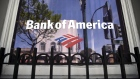 Buildings are reflected in the window of a Bank of America Corp. branch in Alameda, California, U.S., on Monday, April 9, 2018.