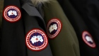 Logo patches are seen on winter jackets inside the Canada Goose Holdings Inc. production facility in Toronto.