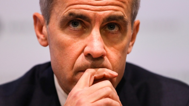 Mark Carney, governor of the Bank of England (BOE), pauses during the bank's quarterly inflation report news conference in the City of London in London, U.K., on Thursday, Nov. 1, 2018. The BOE hinted there may be a need for faster rate increases in the coming years in a report dominated by uncertainty over Brexit.