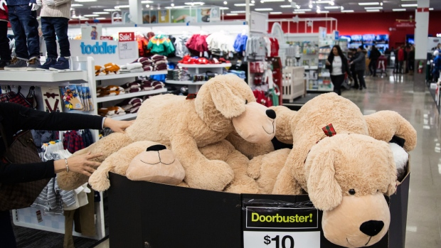 Stuffed toys sit on display at a Target Corp. store in Westbury, New York, on Nov. 22.  Photographer: Alex Flynn/Bloomberg