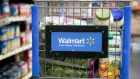 Grocery items sit inside a cart at a Wal-Mart store in Alexandria, Virginia, U.S.