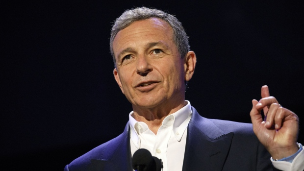 Bob Iger, chairman and chief executive officer of The Walt Disney Co., speaks during the Disney Legends Awards at the D23 Expo 2017 in Anaheim, California, U.S., on Friday, July 14, 2017. Burbank, California-based Disney will entertain D23 guests this weekend with sneak previews of movies as well as the opportunity to purchase exclusive merchandise at dozens of shops situated in the Anaheim Convention Center. Photographer: Patrick T. Fallon/Bloomberg