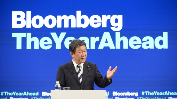 Toshimitsu Motegi, Japan's minister of economy, speaks during the Bloomberg Year Ahead summit in Tokyo, Japan, on Thursday, Dec. 6, 2018. Motegi, Japan's point person for the Comprehensive and Progressive Agreement for Trans-Pacific Partnership (TPP), said he welcomes interest from more nations in joining the 11-member pact.