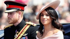 LONDON, ENGLAND - JUNE 09: Meghan, Duchess of Sussex and Prince Harry, Duke of Sussex during Trooping The Colour on the Mall on June 9, 2018 in London, England. The annual ceremony involving over 1400 guardsmen and cavalry, is believed to have first been performed during the reign of King Charles II. The parade marks the official birthday of the Sovereign, even though the Queen's actual birthday is on April 21st. . (Photo by Chris Jackson/Getty Images)