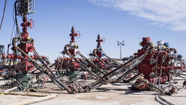 Machinery used to fracture shale formations stands at a Royal Dutch Shell Plc hydraulic fracking site near Mentone, Texas, U.S., on Thursday, March 2, 2017.