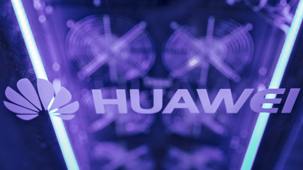 The Huawei Technologies Co. logo is displayed on a server at the Huawei Connect 2017 conference in Shanghai, China, on Tuesday, Sept. 5, 2017. Huawei aims to establish a union of cloud-service providers similar to global aviation alliances such as Sky Team, rotating chief executive officer Guo Ping said.