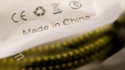 "The words ""Made In China"" are seen on a package displayed for a photograph in Tiskilwa, Illinois, U.S., on Tuesday, April 10, 2018. A week after escalating tensions with his threat to impose tariffs on an additional $100 billion in Chinese products, President Trump said Thursday the two countries ultimately may end up levying no new tariffs on each other."