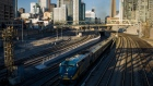 A VIA Rail train leaves Union Stationbound for Windsor on April 22, 2013 in Toronto, Ontario, Canada.