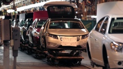 Chevrolet Volt cars move down the production line at General Motors Co.'s Detroit-Hamtramck Assembly plant in Detroit, Michigan, U.S.