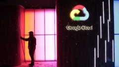 The Google Inc. logo sits illuminated on the company's exhibition stand at the Noah Technology Conference in Berlin, Germany, on Wednesday, June 6, 2018. The conference, one of the tech industry's premier events, was launched in 2009 and runs June 6-7.