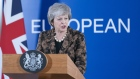 Theresa May, U.K. prime minister, speaks during a news conference at a European Union (EU) leaders