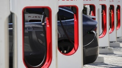 A Tesla Inc. Model S electric vehicle charges at a Supercharger stationn in Oftringen, Switzerland, on Thursday, Aug. 16, 2018. Tesla chief executive officer Elon Musk has captivated the financial world by blurting out via Twitter his vision of transforming Tesla into a private company.