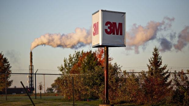 Signage stands outside the 3M Co. Cottage Grove Center in Cottage Grove, Minnesota.