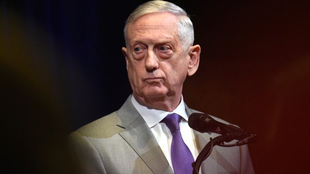 Jim Mattis, U.S. secretary of defense, listens during a news conference at the Australia-US Ministerial (AUSMIN) consultations at Stanford University's Hoover Institution in Stanford, California, U.S., on Tuesday, July 24, 2018. U.S. Secretary of State Michael Pompeo this week sought to shore up support among UN Security Council members for a North Korean sanctions regime that's showing signs of weakening, as hopes for a quick denuclearization agreement with Pyongyang fade. Photographer: Josh Edelson/Bloomberg