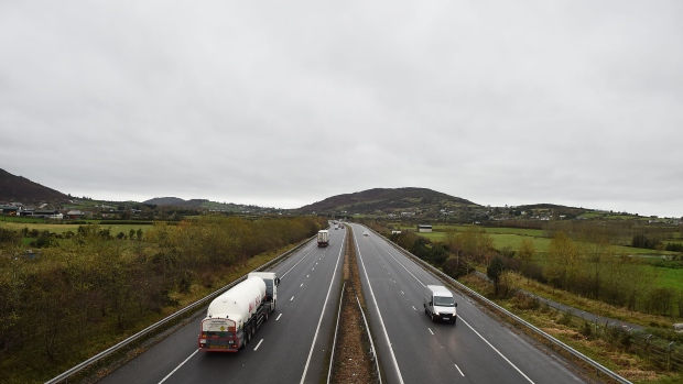 NEWRY, NORTHERN IRELAND - NOVEMBER 14: Motorway view of the Irish border on November 14, 2018 in Newry, Northern Ireland. Theresa May will today attempt to secure the backing of her government ministers for the Brexit deal at a special cabinet meeting in Downing Street this afternoon. Brexiteers are already decrying the deal as a betrayal and urging ministers to reject the deal. (Photo by Charles McQuillan/Getty Images)