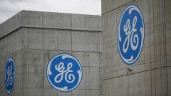 General Electric Co. (GE) logos are displayed on the outside of enclosed jet engine test tunnels at the GE Aviation Test Operations facility in Peebles, Ohio, U.S.