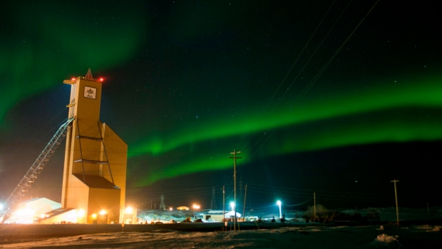 Hudbay Minerals' 777 mine under the Northern Lights in 2012.