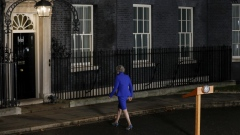 Theresa May, U.K. prime minister, delivers a speech, after winning a confidence vote in Parliament, outside number 10 Downing Street in London, U.K., on Wednesday, Jan. 16, 2019.