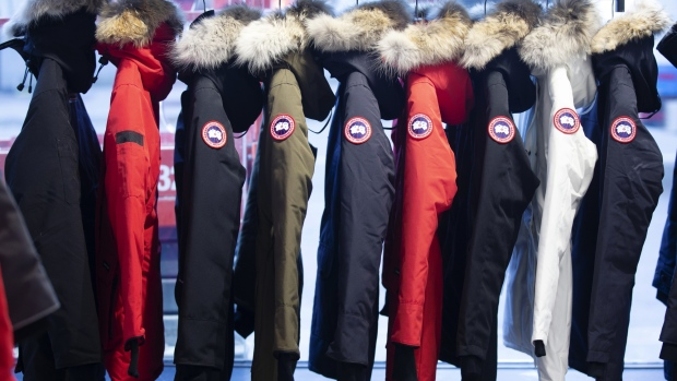 Parkas hang on display at the new Canada Goose Holdings Inc. store in Montreal, Quebec, Canada, on Thursday, Nov. 15, 2018.