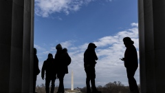 Visitors at the Lincoln Memorial during a partial government shutdown in Washington.